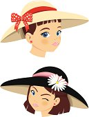 vector file of little girls with hats