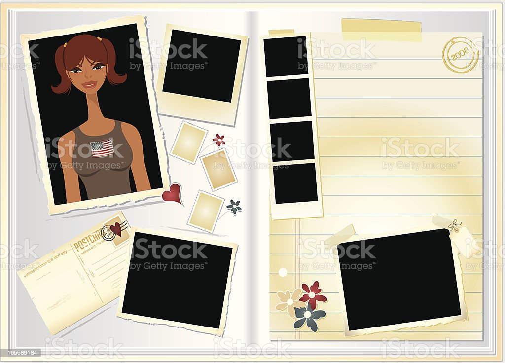 Girly Scrapbook vector art illustration