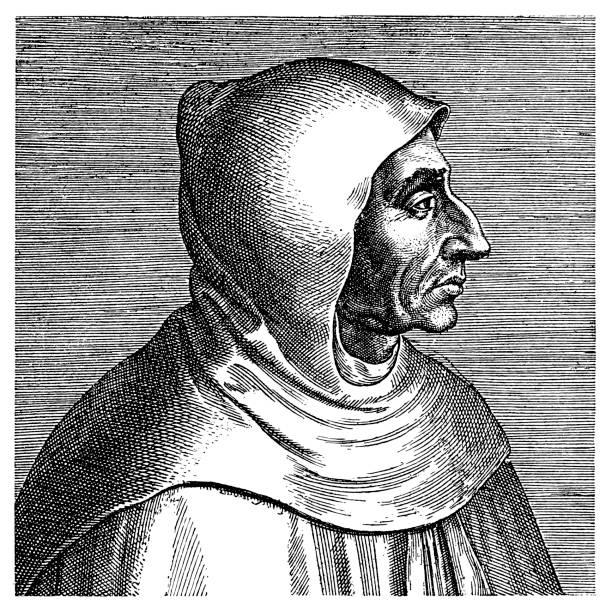 Girolamo Savonarola was an Italian Dominican friar and preacher active in Renaissance Florence Illustration of a Girolamo Savonarola was an Italian Dominican friar and preacher active in Renaissance Florence friar stock illustrations