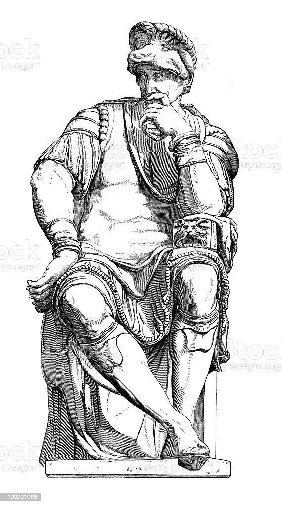 Giuliano de Medici by Michelangelo royalty-free stock vector art