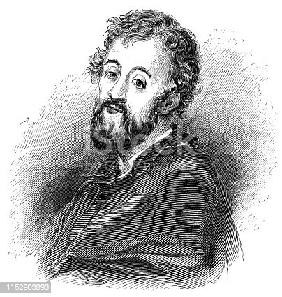Portrait of a Giulio Romano, Italian Renaissance painter and architect (circa 16th century)  from the Works of William Shakespeare. Vintage etching circa mid 19th century.