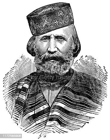 Portrait of Giuseppe Maria Garibald (1807 - 1882). Vintage etching circa late 19th century.