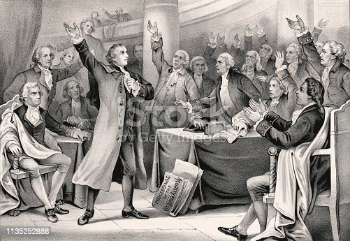 Vintage illustration features Patrick Henry delivering his famous speech on the rights of the colonies in 1775.