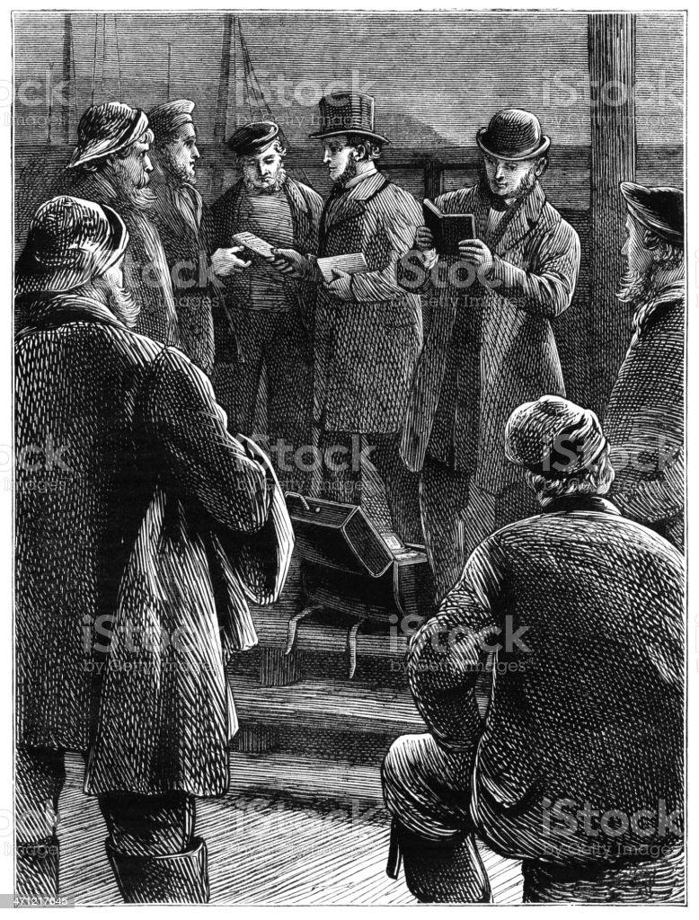 Giving bibles to fishermen - Victorian illustration vector art illustration