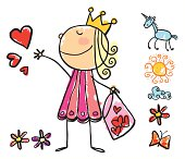 """girl dressed as a princess giving hearts, drawn on child style, with items grouped separately for use in design, easy to change colors"""