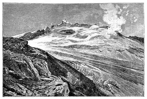 Illustration of a Glacial striations caused by the glacier Schlatenkees which is flowing from the eastern face of the mountain Großvenediger (3,657 m). It is located in the European Alps in Austria and part of the main ridge Hohe Tauern