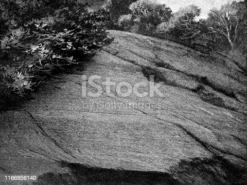 Glacial striations on rock at Central Park in Manhattan New York City, New York, USA. Vintage etching circa late 19th century.