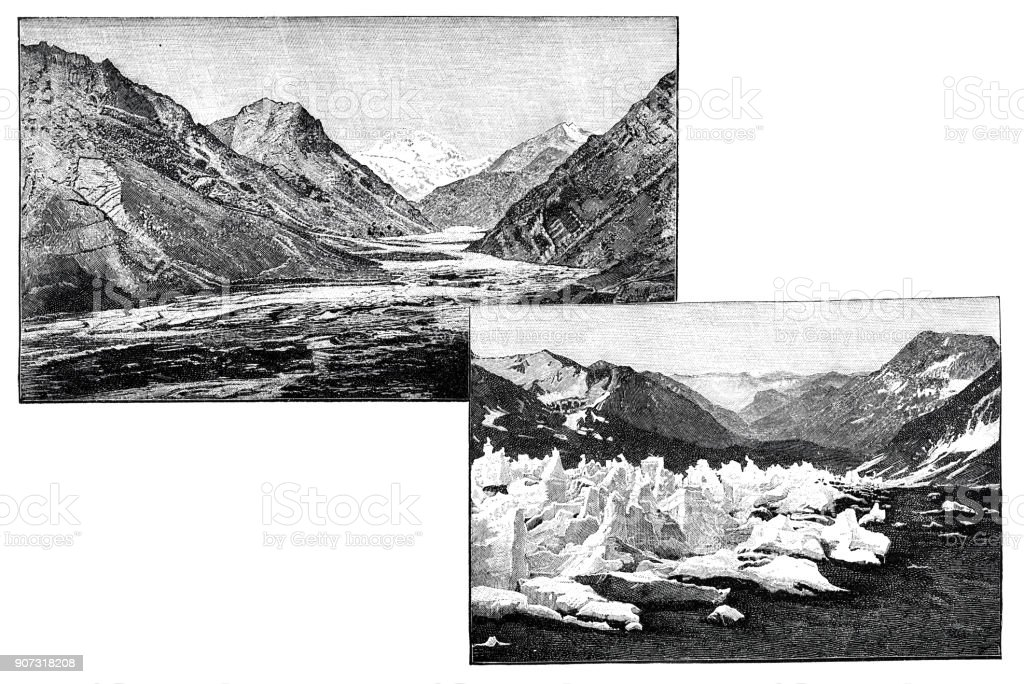 Glacier Aconcagua vector art illustration