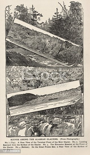 Composite pictures of glaciers in Alaska. Illustration published 1886. Source: Original edition is from my own archives. Copyright has expired and is in Public Domain.