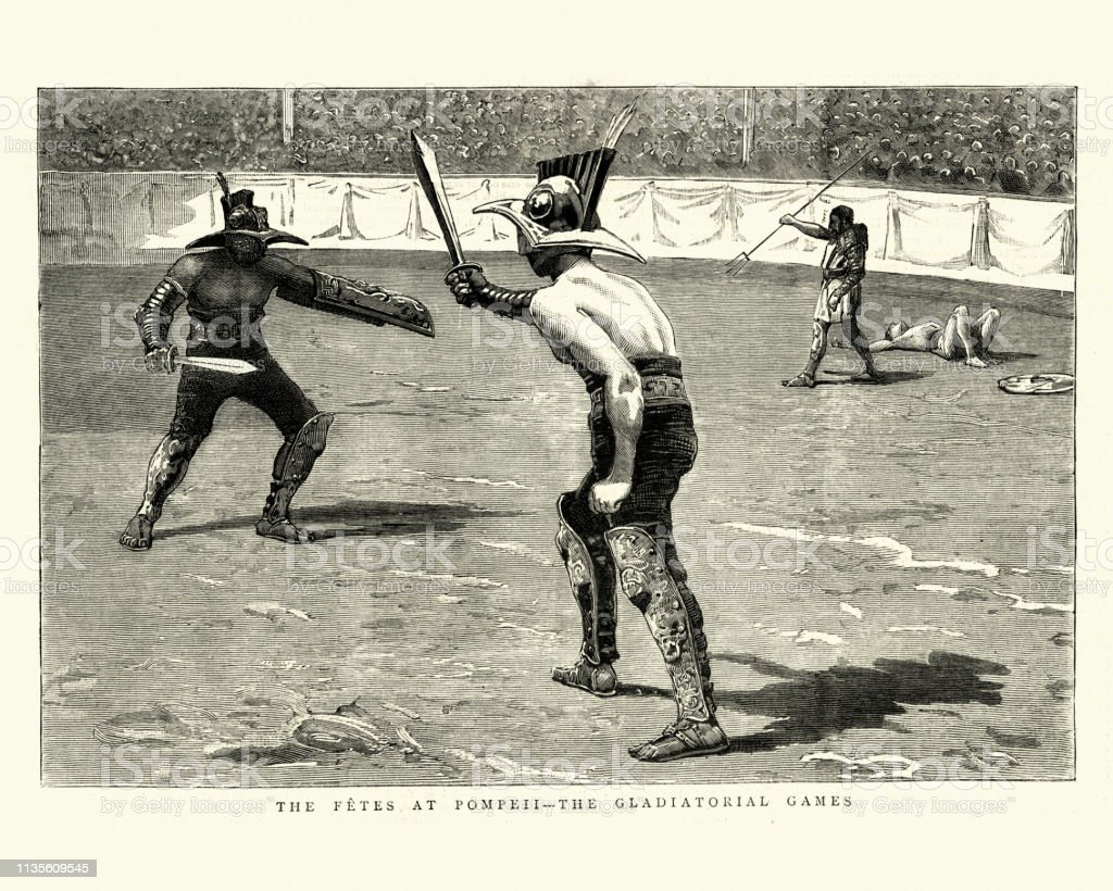 Vintage engraving of Gladiatorial games, gladiators fighting in the...