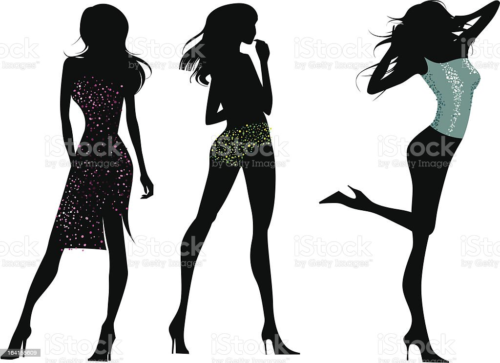 Glam girls silhouettes royalty-free stock vector art