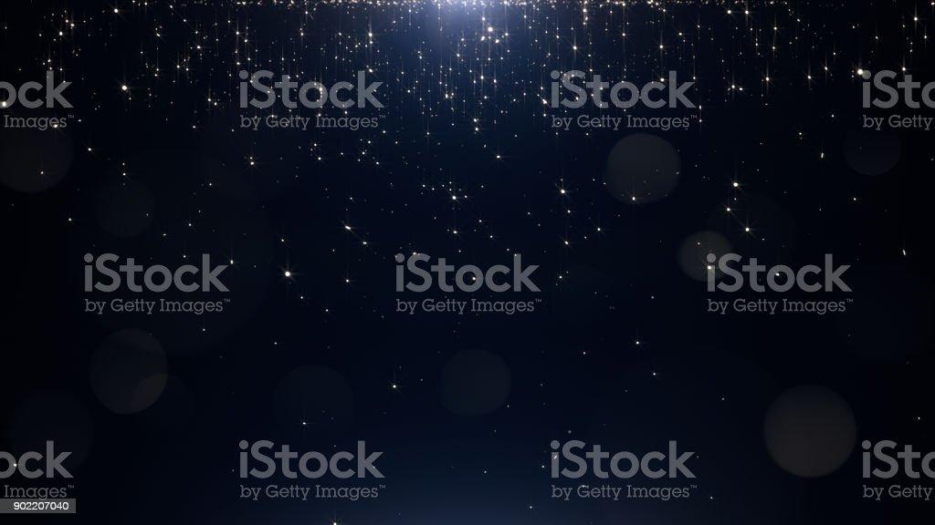 Glamorous golden particles on a black background vector art illustration