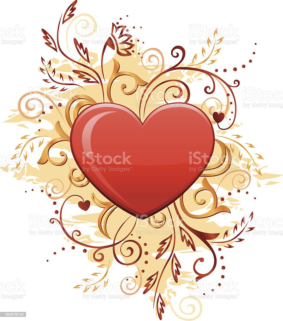 Glamour Heart with Floral Ornate royalty-free stock vector art