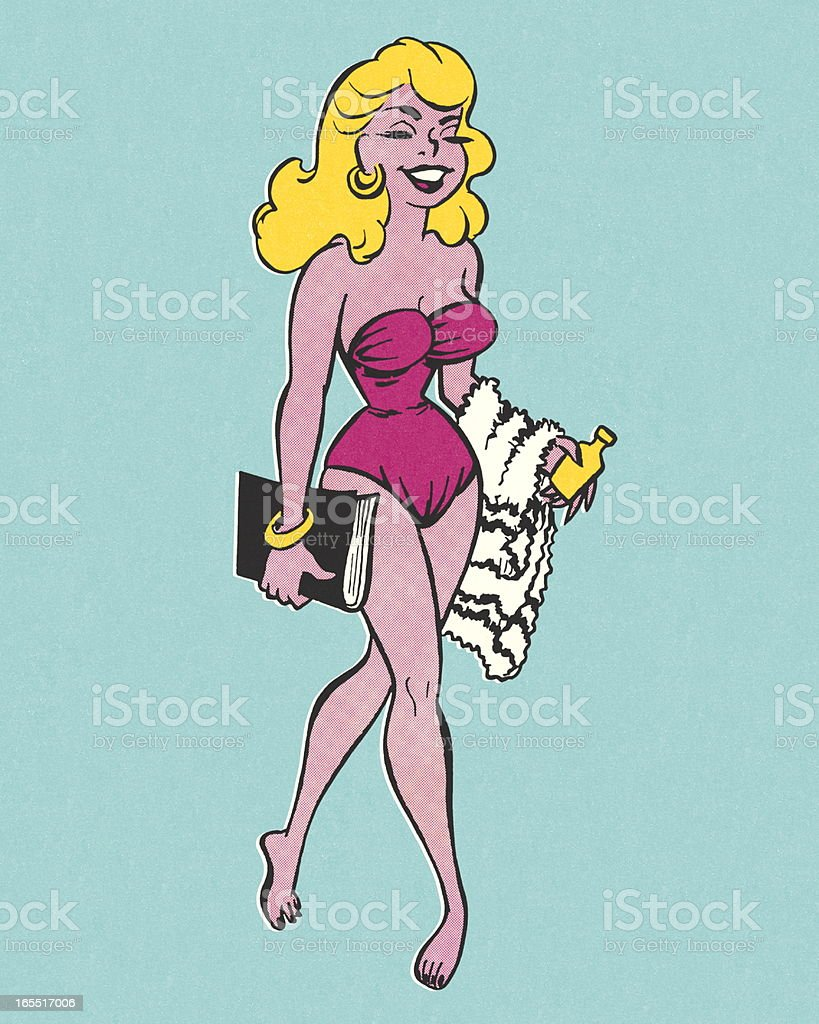 Glamourous Woman at the Beach vector art illustration