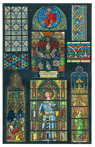 Glass art in Cathedral of Cologne and Bruges 1898