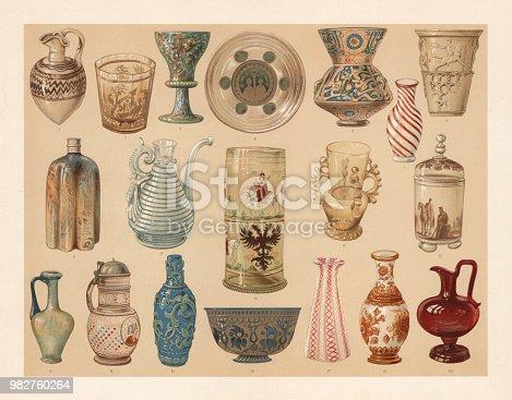 Glass art industry: 1) Phoenician-assyrian jug; 2) Gold glass from Gutenbrunn (Austria, 18th century); 3) Venetian Millefiori glass goblet; 4) Early christian gold glass (Catacombs glass); 5) Egyptian mosque lamp (14th century); 6) Ancient Roman Diatreton bucket; 7) Small Chinese bottle; 8) Venetian bottle made of Aventurine glass; 9) Venetian jug; 10) Old German electors beaker (Fichtelberg, Bavaria); 11) Spanish handled jug; 12) Enamel glass; 13) Ancient Roman jug; 14) German jug (17th century); 15) Chinese vase; 16) Persian bowl; 17) Venetian vase (Reticella glass); 18) Chinese vase; 19) Ruby glass jug. Lithograph, published in 1897.