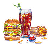 istock Glass cup with cola, double hamburger, fries and ketchup, watercolor painting 1286182732
