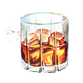 Glass filled with half alcoholic drink whiskey or brandy or cognac. Watercolor hand drawn illustration, isolated on white background
