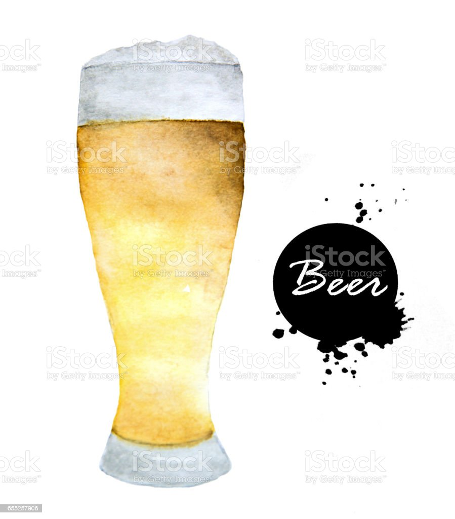 Glass of beer- hand drawn in watercolor. Alcohol drinks vector art illustration
