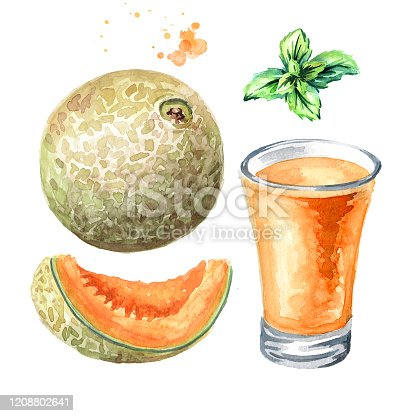 istock Glass of melon juice with whole and cut cantaloupe melon and mint leaf set. Watercolor hand drawn illustration, isolated on white background 1208802641