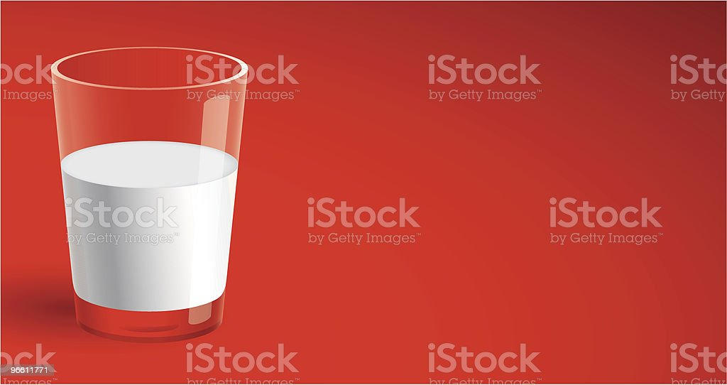 Glass of Milk on Red - Royaltyfri Dryck vektorgrafik