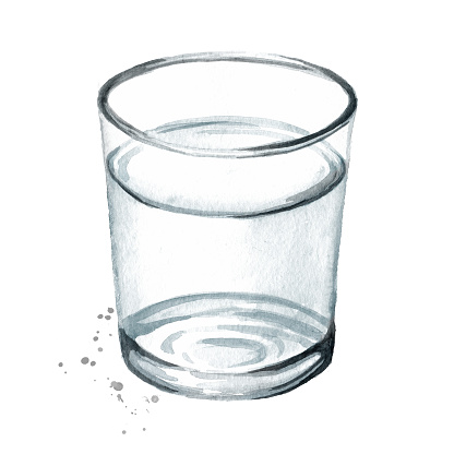 Glass of purified drinking water. Hand drawn watercolor illustration isolated on white background