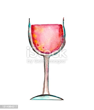 istock Glass of red wine watercolor illustration 1314984317