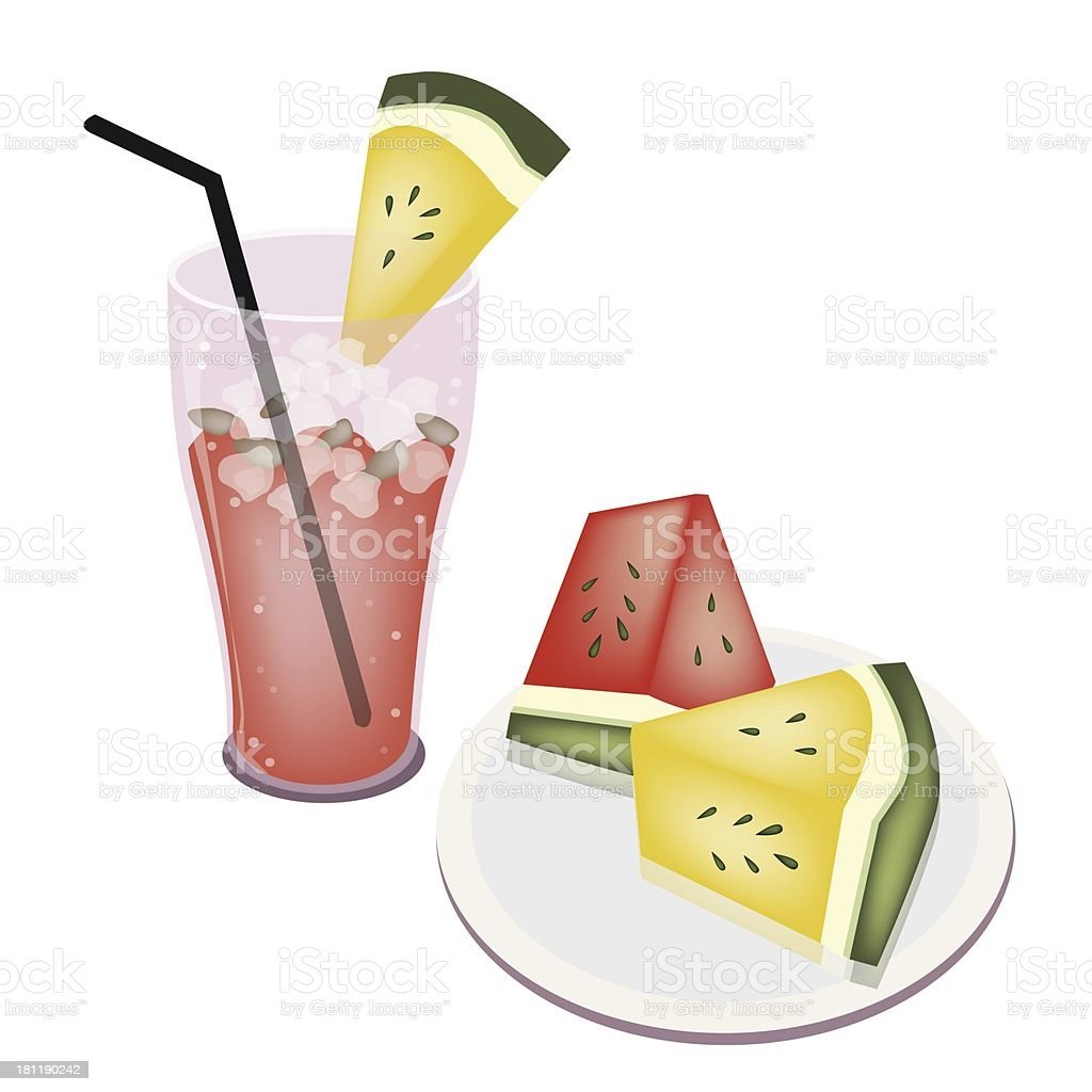 Glass of Watermelon Juice and  Fruit royalty-free stock vector art