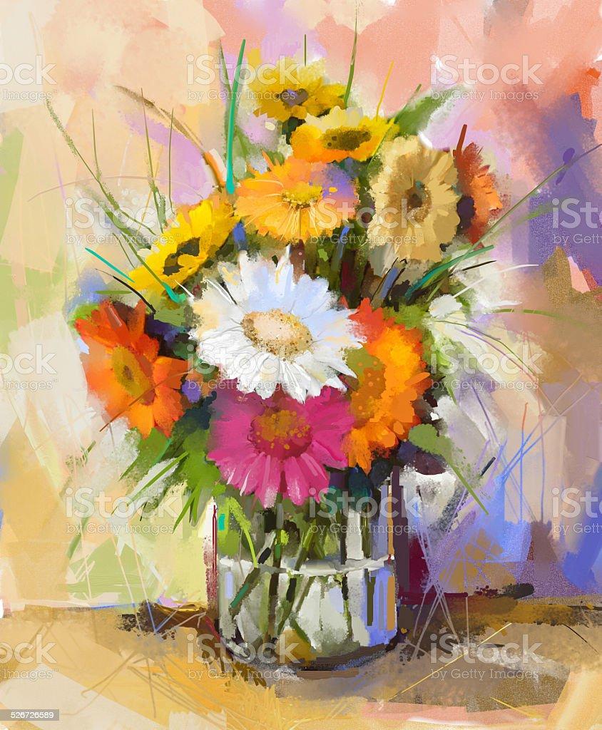 Très Vetro Vaso Con Bouquet Di Fiori Di Gerbera Pittura Ad Olio  CC58
