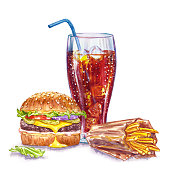 istock Glass with cola and, burger and fries, watercolor illustration 1284140560