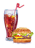 istock Glass with cola and hamburger, watercolor illustration 1284239874