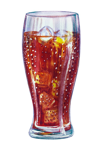 Glass with cola and ice, watercolor illustration