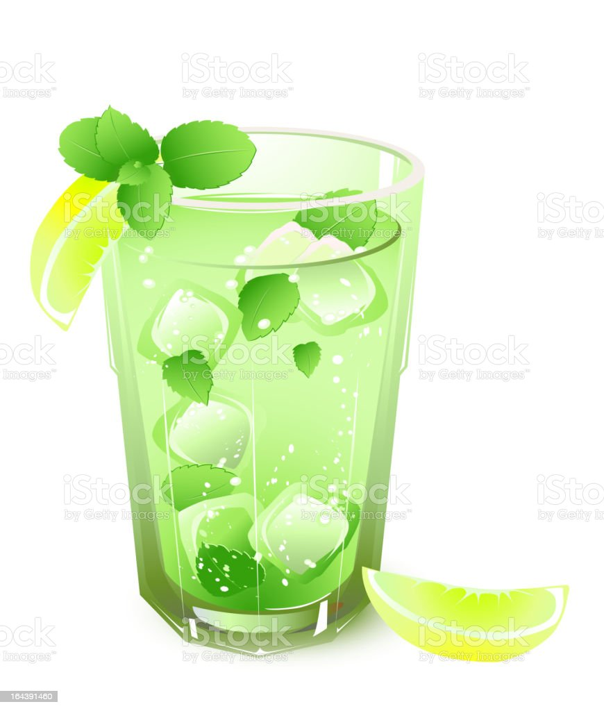 glass with drink and leaves of mint royalty-free glass with drink and leaves of mint stock vector art & more images of alcohol