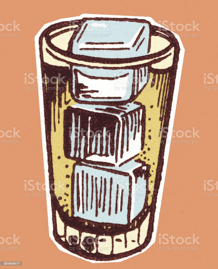 Glass with Ice Cubes vector art illustration