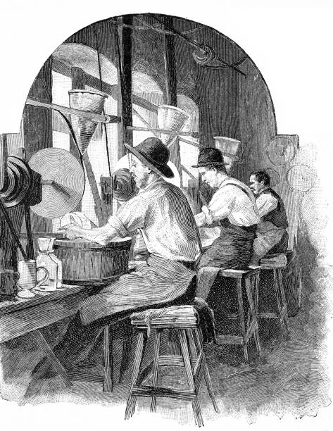 Glassblower Factory In Schliersee At The Grindstone Vector Art Illustration