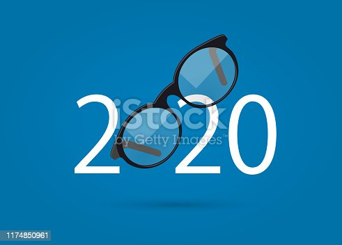 happy new year 2020. 2020 with glasses on isolated background