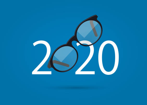 glasses and 2020 year - okulary stock illustrations