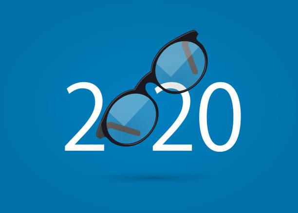 stockillustraties, clipart, cartoons en iconen met glazen en 2020 jaar - gezicht