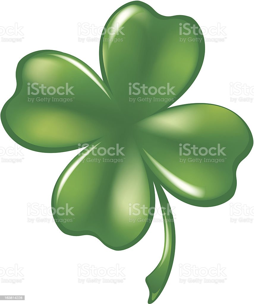 Glassy 4 Leaf Shamrock vector art illustration