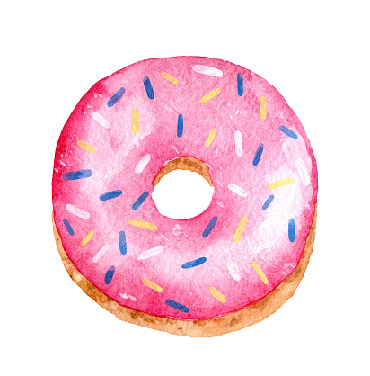 Glazed pink donut with colored sprinkles isolated on white background