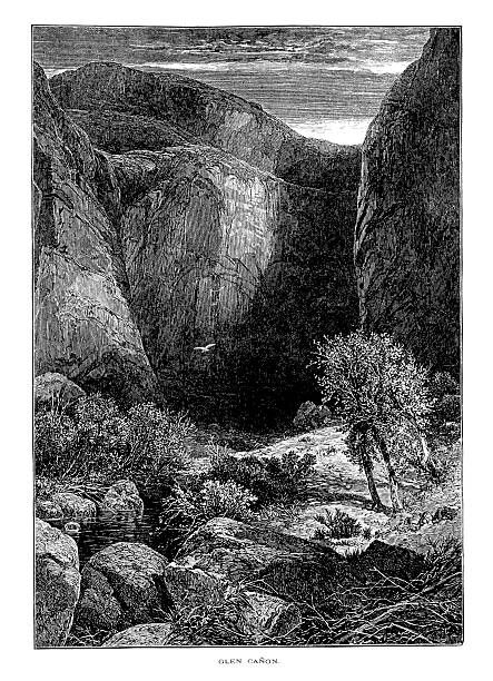 "Glen Canyon, Colorado River, USA | Historic American Illustrations ""Antique illustration of Glen Canyon in the U.S. states of Utah and Arizona. Engraving published in Picturesque America (D. Appleton & Co., New York, 1872).MORE VINTAGE AMERICAN ILLUSTRATIONS HERE:"" lake powell stock illustrations"