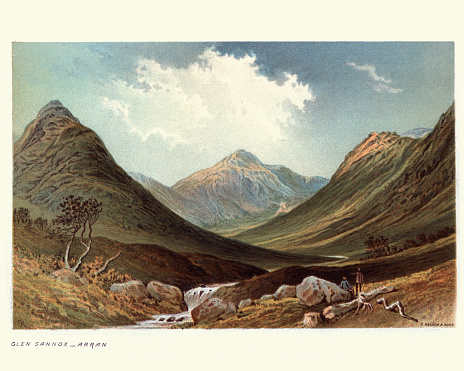 Vintage engraving of a landscape of Glen Sannox, Isle of Arran, Scotland, 19th Century