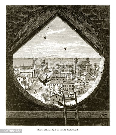 Very Rare, Beautifully Illustrated Antique Engraving of Glimpse of Sandusky, Ohio, United States from St. Paul's Church, American Victorian Engraving, 1872. Source: Original edition from my own archives. Copyright has expired on this artwork. Digitally restored.