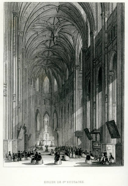 illustrazioni stock, clip art, cartoni animati e icone di tendenza di église di sant'eustachio, parigi - saint eustache church