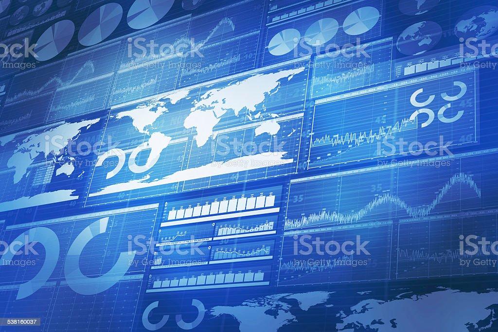 Global business und Finanzen blauem Hintergrund – Vektorgrafik