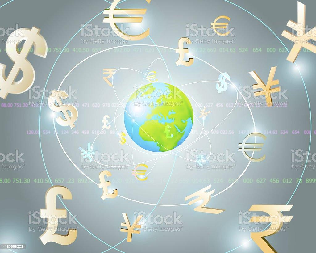 Global Currencies vector art illustration