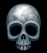 Skull with a world map on her forehead.