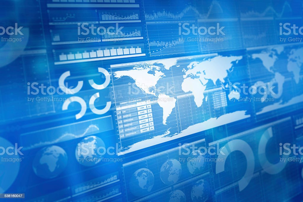Global business and stock market blue background, with charts,...