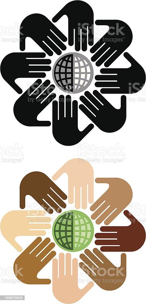 Global hand circles vector art illustration