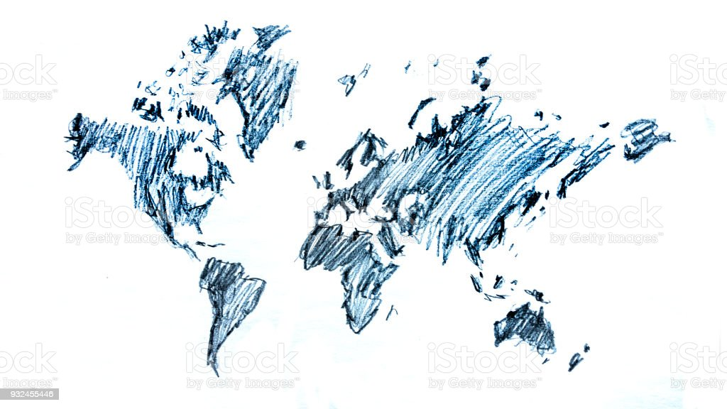 global map sketch drawing illustration royalty free global map sketch drawing illustration stock vector art